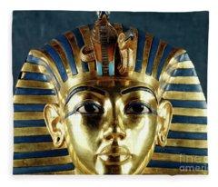 Funerary Mask Of Tutankhamun Fleece Blanket
