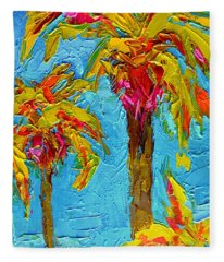 Funky Fun Palm Trees - Modern Impressionist Knife Palette Oil Painting Fleece Blanket