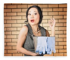 Funny Female Cleaner Giving Ok Hand Sign. Clean  Fleece Blanket
