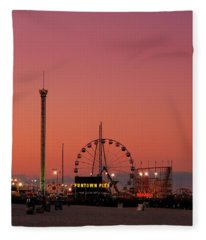 Funtown Pier At Sunset II - Jersey Shore Fleece Blanket