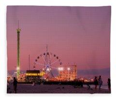 Funtown Pier At Sunset IIi - Jersey Shore Fleece Blanket