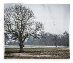 Furrows In The Snow 3 Fleece Blanket