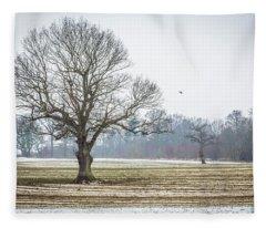 Furrows In The Snow 4 Fleece Blanket