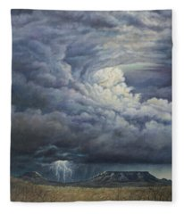 Fury Over Square Butte Fleece Blanket