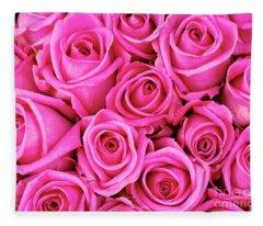 Fuschia Colored Roses Fleece Blanket