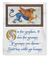 G Is For Gryphon Fleece Blanket