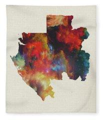 Gabon Watercolor Map Fleece Blanket