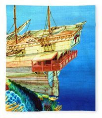 Galleon On The Reef 2 Filtered Fleece Blanket