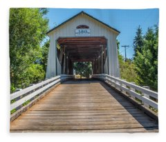 Gallon House Covered Bridge Fleece Blanket