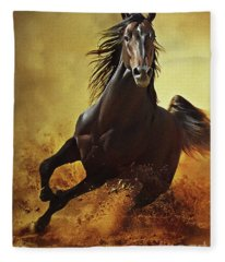 Galloping Horse At Sunset In Dust Fleece Blanket