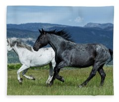 Galloping Through The Scenery Fleece Blanket