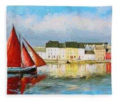 Galway Hooker Leaving Port Fleece Blanket