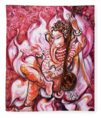 Ganesha - Enjoying Music Fleece Blanket