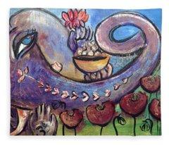 Ganesha With Poppies Fleece Blanket