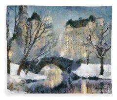 Gapstow Bridge In Snow Fleece Blanket