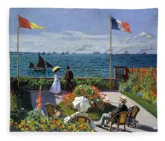 Garden At Sainte Adresse By Claude Monet Fleece Blanket