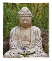 Garden Buddha And Bluebonnets Fleece Blanket