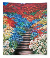 Red White And Blue Garden Cascade.               Flying Lamb Productions  Fleece Blanket