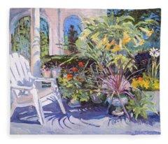 Garden Chair In The Patio Fleece Blanket
