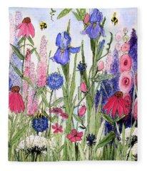 Garden Cottage Iris And Hollyhock Fleece Blanket