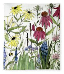 Garden Flowers With Bees Fleece Blanket