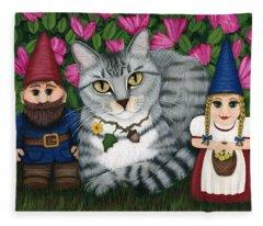 Garden Friends - Tabby Cat And Gnomes Fleece Blanket