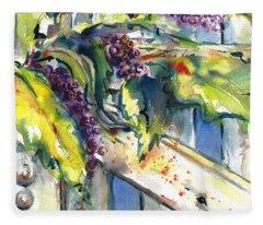 Garden Gate In Fall With Poke Berries  Fleece Blanket
