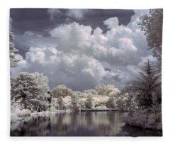 Garden Lake In Infrared Fleece Blanket
