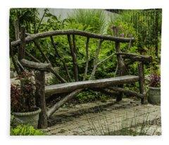 Garden Tree Bench Fleece Blanket