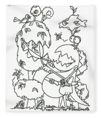 Gardening Monster Fleece Blanket