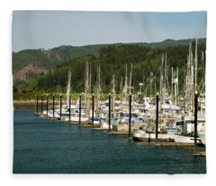 Garibaldi Oregon Marina Fleece Blanket