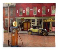 Gas Station - Lazy Saturday's 1935 Fleece Blanket