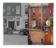 Gas Station - Lazy Saturday's 1935 - Side By Side Fleece Blanket