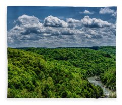 Gauley River Canyon And Clouds Fleece Blanket