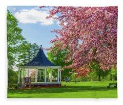 Gazebo And Blossoms Fleece Blanket