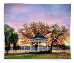 Gazebo Sunrise At Claytor Lake Fleece Blanket