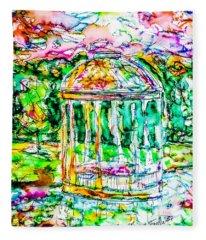 Gazebo Sunset Fleece Blanket