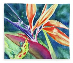 Gecko On Bird Of Paradise Fleece Blanket