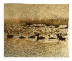 Geese On Golden Pond Fleece Blanket
