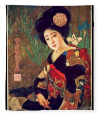 Geisha Portrait - 1912 Japanese Beer Promotion Painting Fleece Blanket