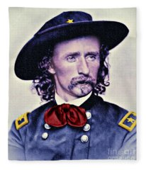 General Custer Folk Hero Fleece Blanket
