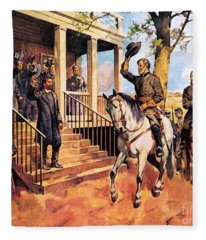 General Lee And His Horse 'traveller' Surrenders To General Grant By Mcconnell Fleece Blanket