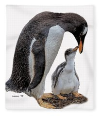 Gentoo Penguins Fleece Blanket