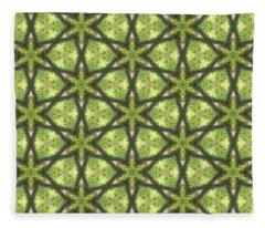 Geo Stars In Greens Fleece Blanket
