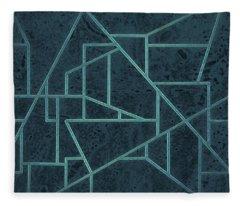 Geometric Abstraction In Blue Fleece Blanket