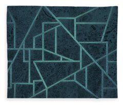 Geometric Abstraction In Blue Fleece Blanket