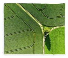 Geometric Landscape 05 Tree And Green Fields Aerial View Fleece Blanket