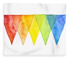 Geometric Watercolor Pattern Rainbow Triangles Fleece Blanket