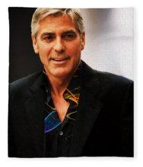 George Clooney Painting Fleece Blanket