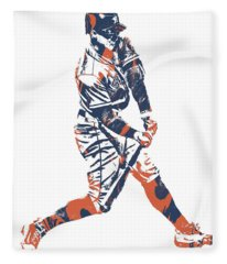 George Springer Houston Astros Pixel Art 10 Fleece Blanket